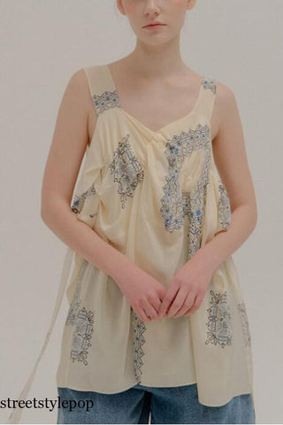 French Style Thick Shoulder Strap Vest  Summer Pleated Printing Fashion Open Back Lace Up Chiffon Blouses