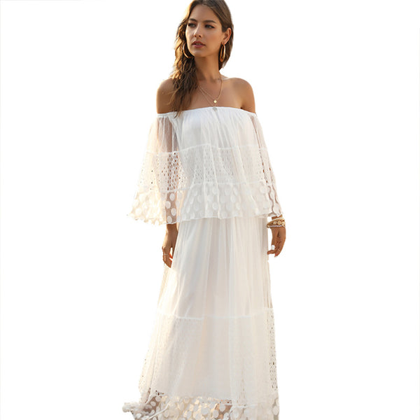 Spring and Summer Popular Style Character Shoulder Dress Long Shoulder Pleated Beach Skirt