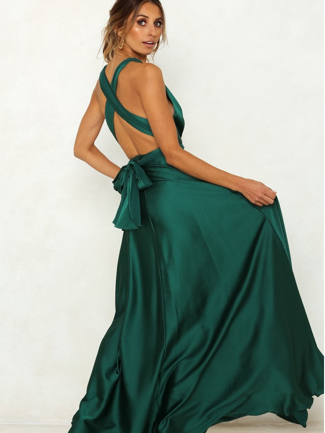 Party Deep V Collar Backless Solid Color Sexy Backless Elegant Dresses
