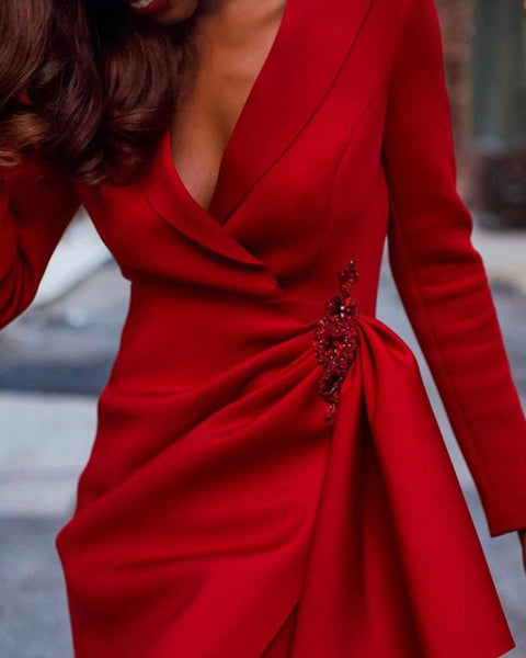 Solid Long Sleeve Ruched Design Dress