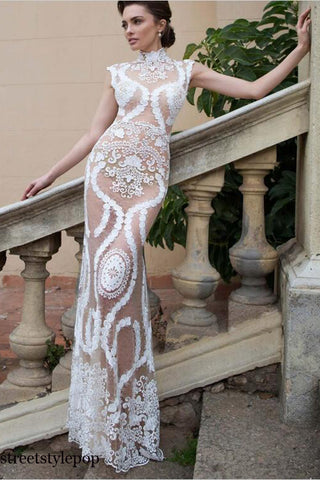 Women Popular Lace Embroidery Wedding Evening Banquet Dresses