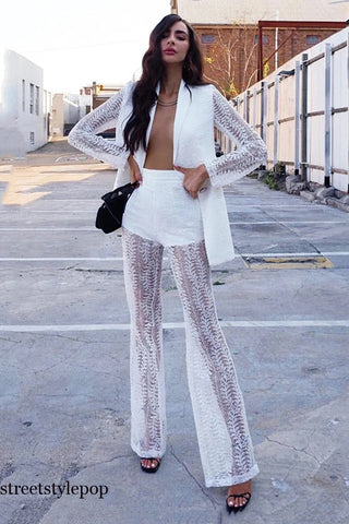 Ladies Lace Embroidery Hollow Wide Leg Pants Leisure Two-piece Sets