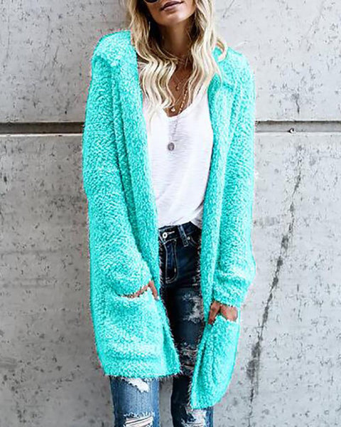 Hooded Solid Fluffy Open Front Cardigan