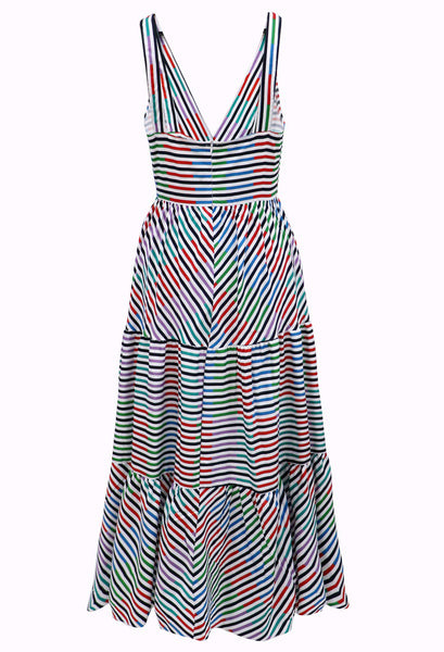 Summer Striped Print Dress Deep V Sling Large Swing Skirt