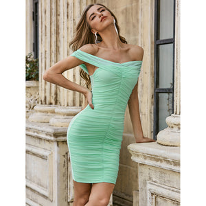 Knitted Low Stretch Silk Slim Hot One Shoulder Evening Dress