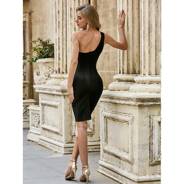 One Shoulder Sexy Party Bandage Temperament Dress