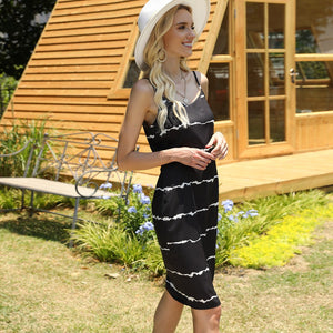 Women Tie Dye Suspender Dress  Summer V-neck Split Long Skirt