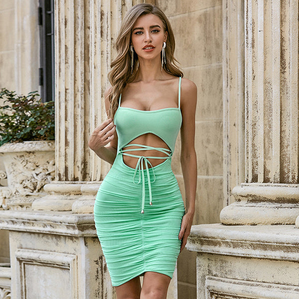 Spring and Summer Hot Selling Dress Sexy Sling Hollowed Out Bandage Navel Club Skirt