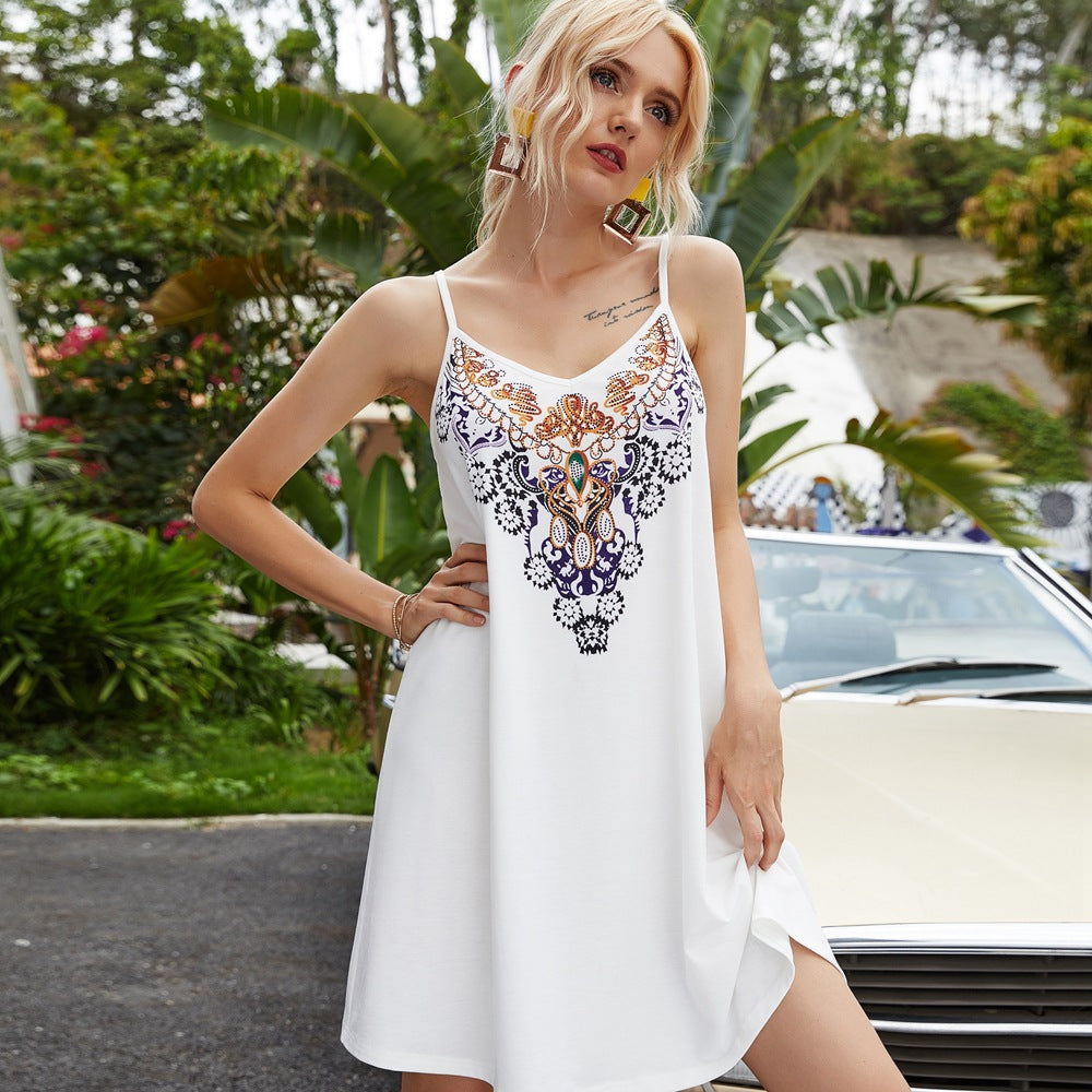 Summer Women White Totem Print V-neck Sling Vest Dresses