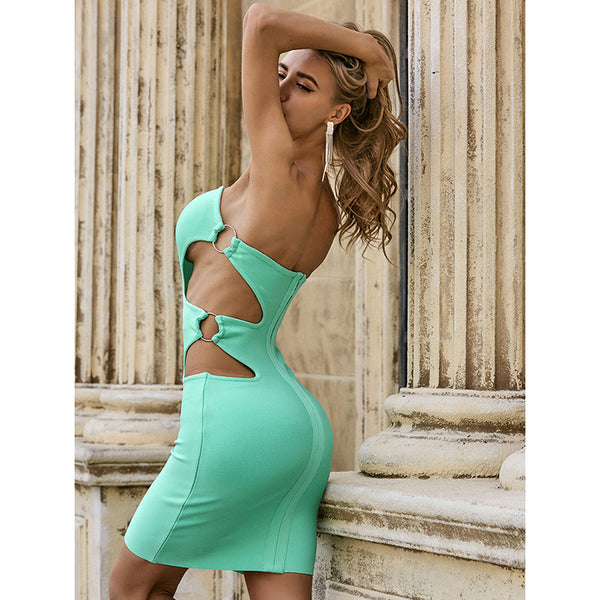 Fashion Sexy Side Hollowed-out Slip Skirt Nightclub Solid Color Tight Waist Dress