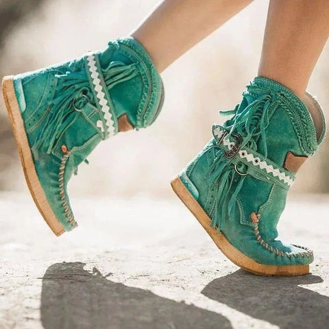 Tassel Boots Short Boots 40-43 Large Women's Shoes Round Toe Short Boots