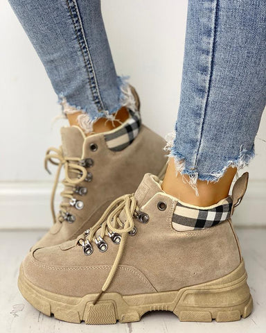 Plaid Splicing Lace-Up Martin Ankle Boots