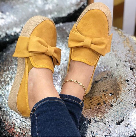 Thick Soled Slope Shoes  Bow Bean Shoes Muffin Autumn and Winter
