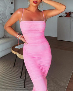 Spaghetti Strap Ruched Bodycon Dress