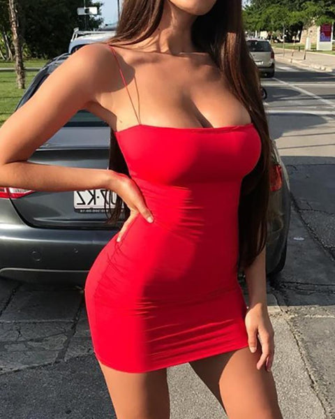 Seductive Solid Spaghetti Strap Bodycon Dress