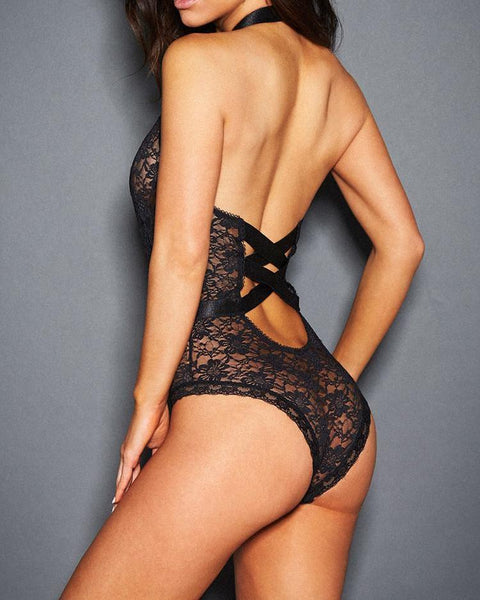 Open Front Lace Sheer Teddy Bodysuit