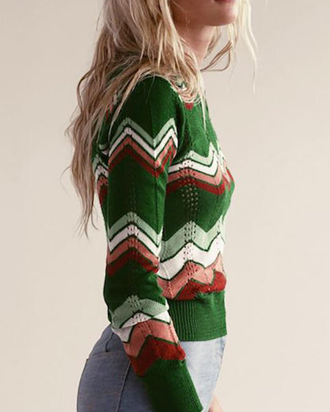Colorful Chevron Stripes Long Sleeve Casual Sweater