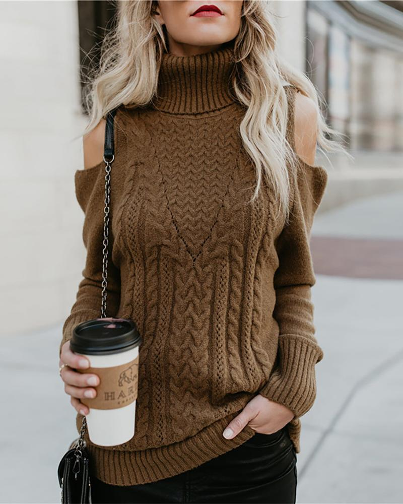 Solid High Neck Cold Shoulder Knitting Sweater