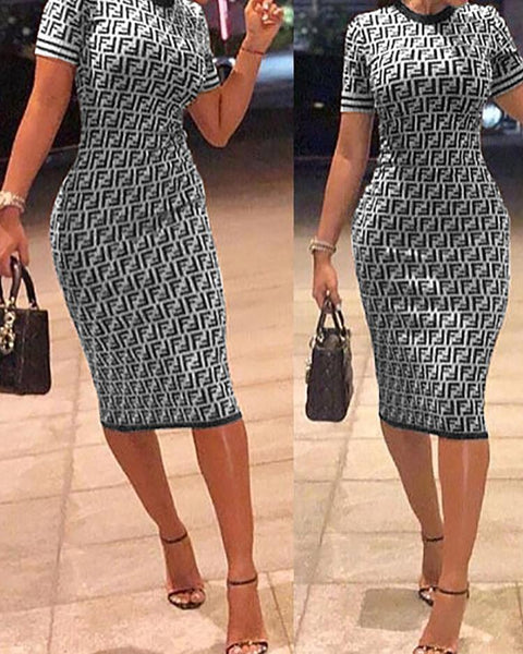 F-Inspired Slit Back Bow Cuff Bodycon Dress