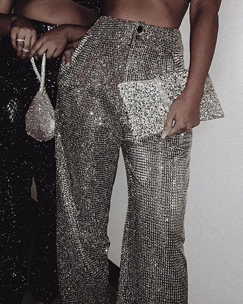 Glitter High Waist Wide Leg Pants