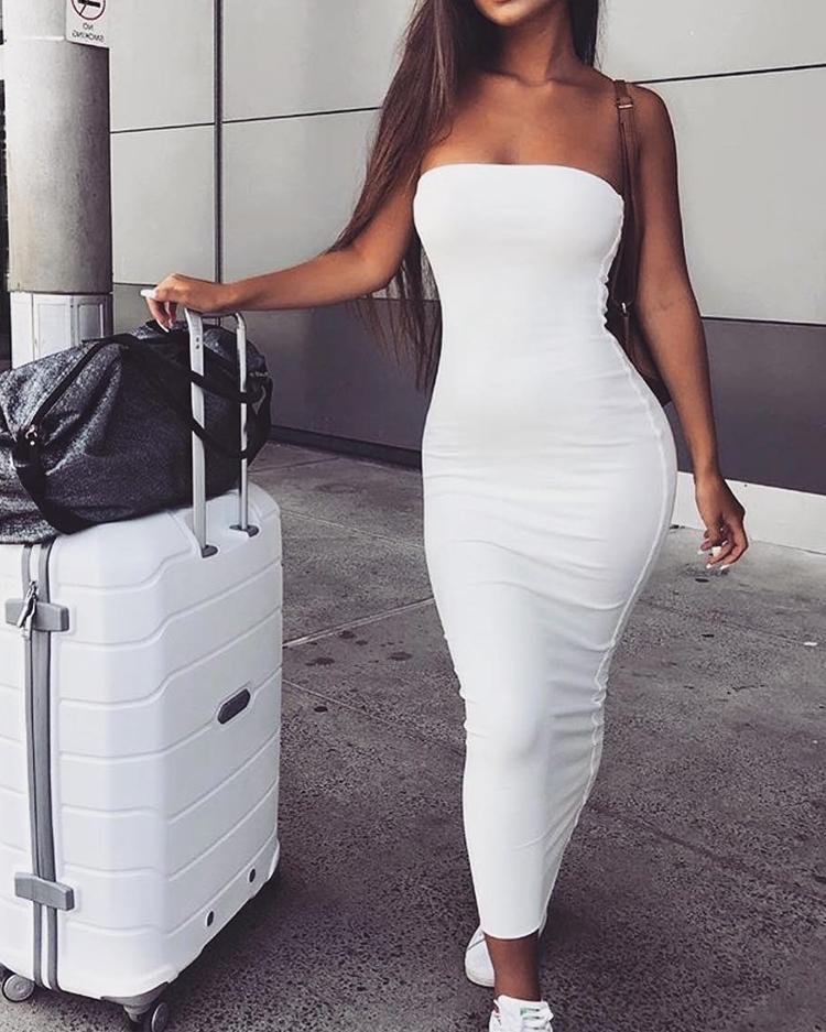 Sexy Off Shoulder Solid Tube Sheath Dress
