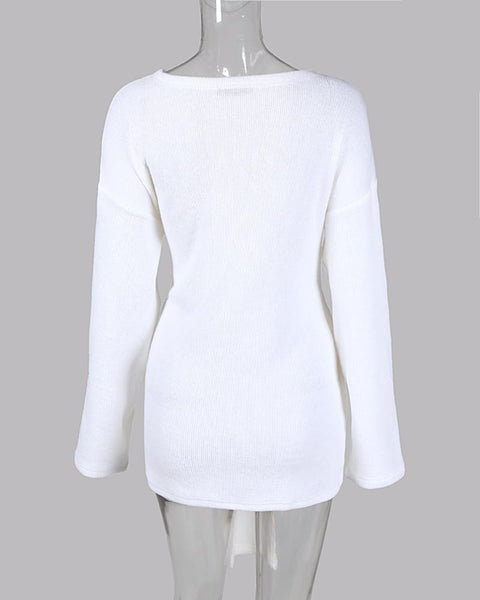 Solid V-Neck Ribbed Tied Ruched Casual Sweater