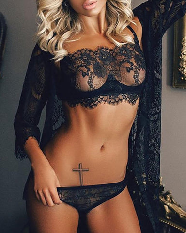Sheer Eyelash Lace Lingerie Bra Set