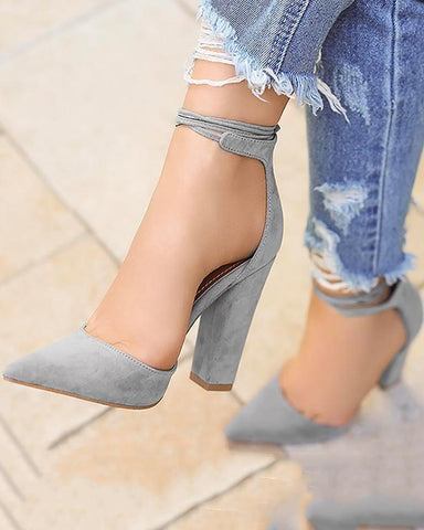 Fashion Point Toe Ankle Strap Chunky Heels