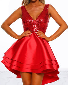 Sequin Bodice Layered Ruffles Dress