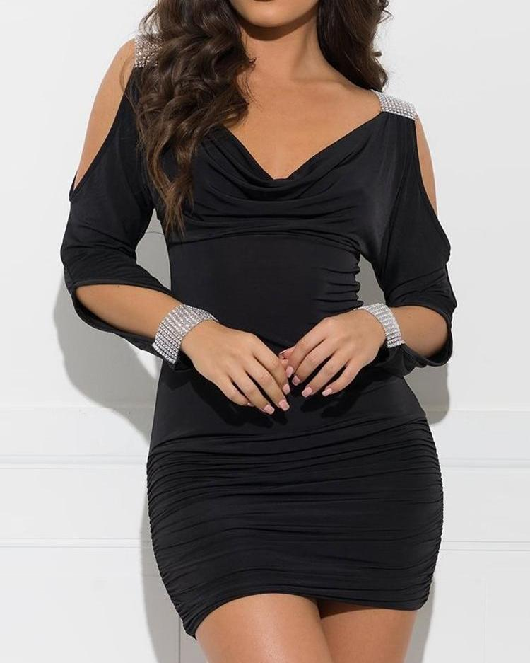Studded Cutout Sleeve Ruched Bodycon Dress