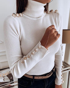 Solid Ribbed Metal Buttoned Casual Sweater