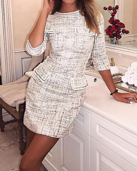 Fake Pocket Design Tweed Shift Dress