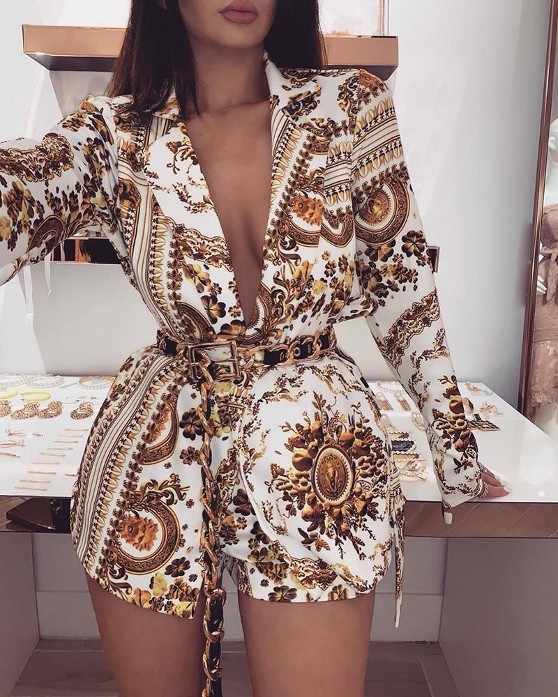 Plunge Colorful Print Long Sleeve Top & Shorts Sets