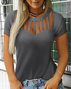 Short Sleeve Ladder Cut Out Casual Top