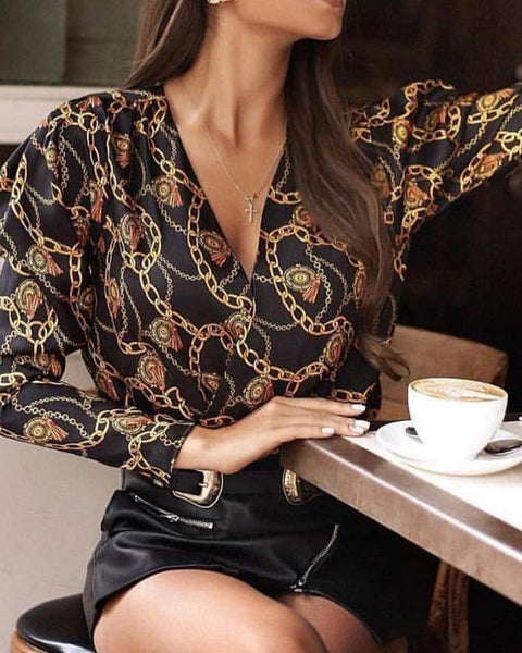 Chain Print V-Neck Long Sleeve Blouse