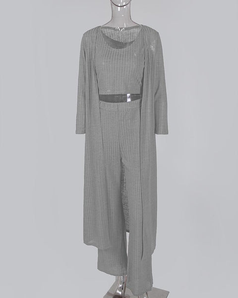 Solid Ribbed Tank & Longline Coat & Wide Leg Pants Sets