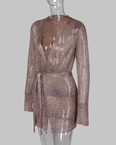 Glitter Long Sleeve Tight Waist Dress