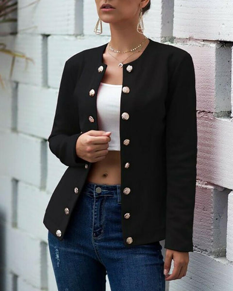 Double-breasted Long Sleeve Round Neck Blazer