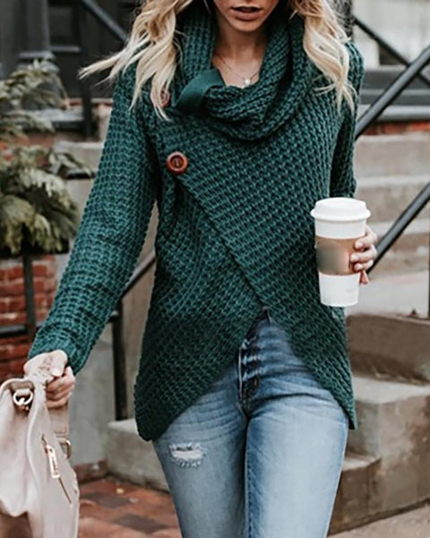 Solid Long Sleeve Buttoned Casual Sweater