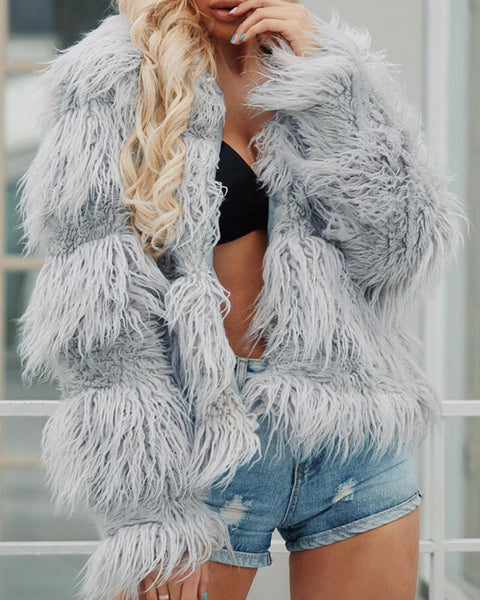 Solid Open Front Long Sleeve Fur Fluffy Coat