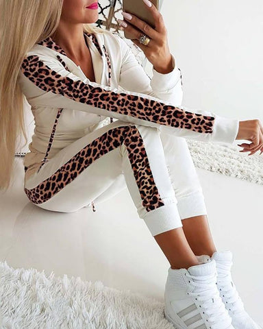 Leopard Print Drawstring Design Hooded Top & Pencil Pants Sets
