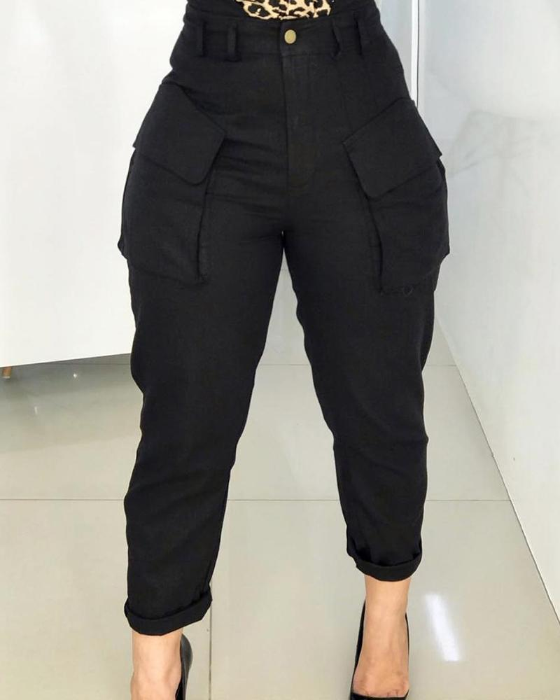 High Waist Pocket Design Cargo Casual Pants