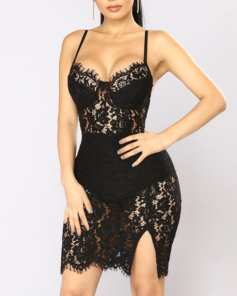 Eyelash Lace Crochet Side Slit Bodycon Dress