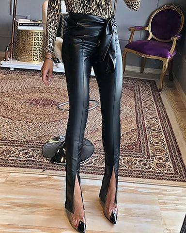 PU Solid Slit Design Pants