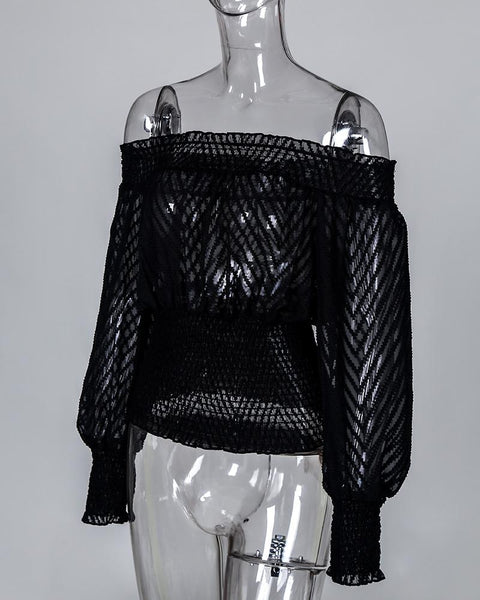Off Shoulder Bishop Sleeve Shirring Mesh Blouse