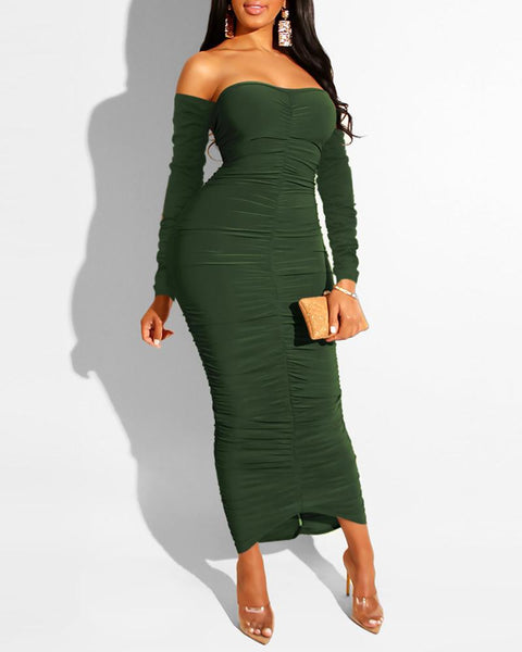 Solid Off Shoulder Bodycon Ruched Dress