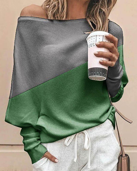 Batwing Sleeve Colorblock Casual Blouse