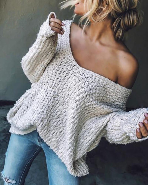 Solid V-Neck Long Sleeve Knitting Sweater