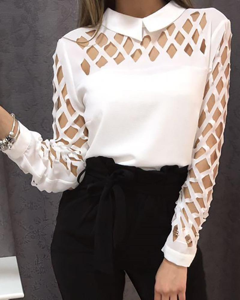 Burnout Long Sleeve Casual Blouse