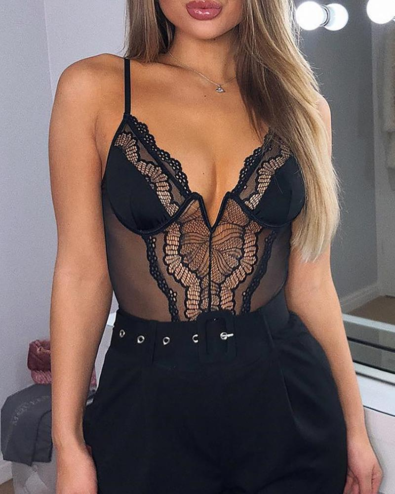 Sexy Lace Patchwork Sleeveless Bodysuit